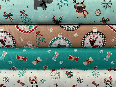 'Christmas Pooches' 100% Cotton Fabric By 1/4 Metre* Dogs/Pugs/French Bulldog • 2£