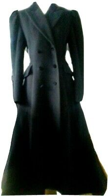 Vintage Long Black Wool Victorian Laura Ashley Riding Coat Fit Flare Gothic Tall • 349.99£