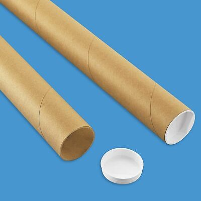 $8.99 • Buy Premium Kraft Mailing Shipping Poster Tubes With Plastic End Caps 2  X 24