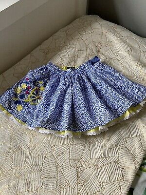 Girls M&S Autograph Blue Yellow Polka Dot Butterfly Embroided Skirt Age 2-3 Yrs • 3£