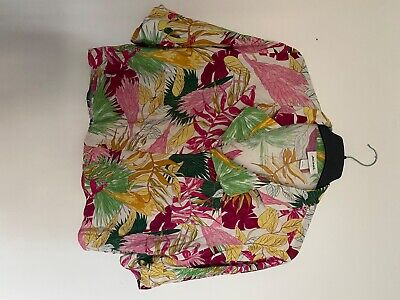 Monki Graphic Cropped Shirt Pattern Arty Quirky Print Botanical Size L Relaxed • 6£