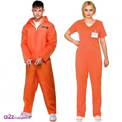 Orange Convict Mens Ladies Prisoner Boiler Suit Halloween Couples Fancy Dress • 11.95£