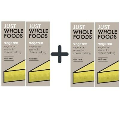 Just Wholefoods VegeRen Vegetarian Rennet 4 X 30ml Gluten And GM Free • 11.99£