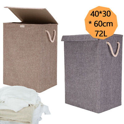 72L Large LAUNDRY BASKETS WASHING CLOTHES STORAGE FOLDING BASKET BIN HAMPER • 11.95£