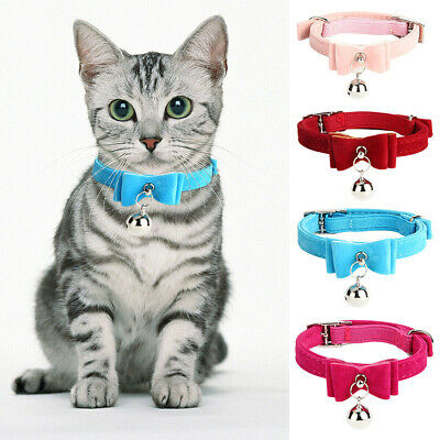 Cute Elastic Cat Kitten Pet Bow Tie Collar With Bell 5 Colours Choices • 3.59£
