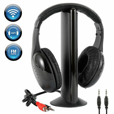 5 In 1 Wireless Cordless Rf Headphones Headset With Mic For Pc Tv Radio Skype • 13.79£