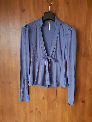 FREE PEOPLE T-SHIRT TOP Blue Tie Front Stretch Jersey S / UK 8-10 / 36-38 - NEW • 9.95£