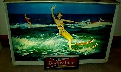 $ CDN560.24 • Buy VINTAGE BUDWEISER Beer Sign Light SKI GIRLS Wood Boat Evinrude Outboard SKIING