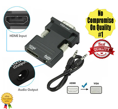 1080P HDMI Female To VGA Male With Audio Output Cable Converter Adapter Lead • 5.19£