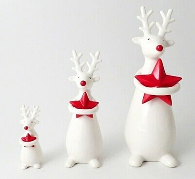 £8.99 • Buy White Ceramic Standing Reindeer With Red Star Christmas Ornament -3 Sizes