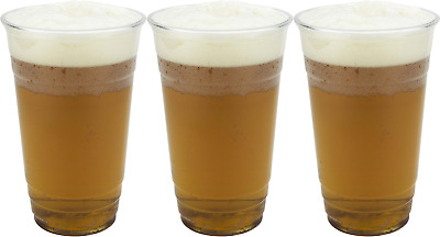 1000 Clear Strong Plastic Pint / Half Pint Disposable Beer Glasses Cups Tumblers • 32.99£