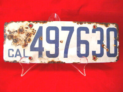 $ CDN92 • Buy ANTIQUE California Porcelain License Plate  497630  White W/Blue Numbers,1916-19