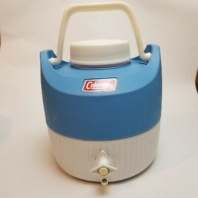 $18.35 • Buy Vintage Coleman One Gallon Water Jug W Spout And Cup Blue/ White February/1981