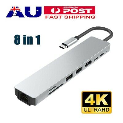 AU39.68 • Buy 8 In 1 USB-C HUB Type-C USB Multi 3.1 4K HDMI RJ45 Ethernet Micro SD TF OTG New