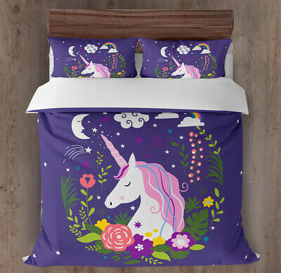 AU28 • Buy All Size Bed Ultra Soft Quilt Duvet Doona Cover Set Bedding Unicorn Purple