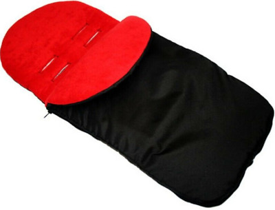 UNIVERSAL FOOTMUFF FIT PUSHCHAIR BUGGY COMPATIBLE WITH Icandy Black/red • 12.99£
