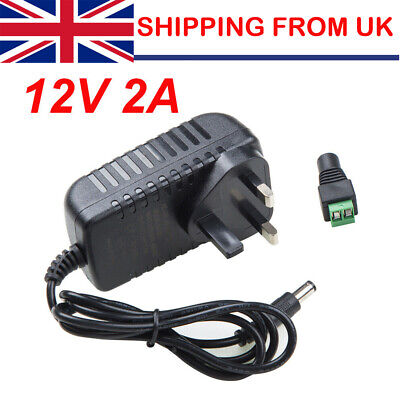 12V Volt 2A UK Plug AC/DC Adapter Power Supply Charger For LED Strip CCTV Camera • 5.65£