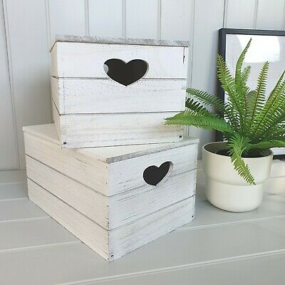 White Wooden Storage Box With Lid Heart Detail Home Storage NEW • 17.70£