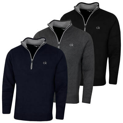 Calvin Klein Mens 2021 Lined Chunky Stretch 1/2 Zip Sweater Pullover 38% OFF RRP • 49.95£