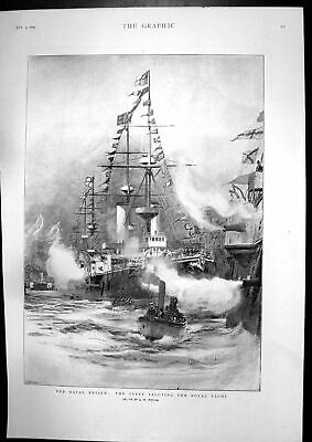 Antique Old Print Naval Review Fleet Royal Yacht Southsea Beach Storm 1897 19th • 20£