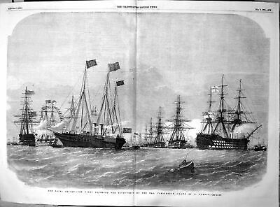 Antique Old Print Naval Review Fleet Rounding Pivot Ships Nab Portsmouth 1856 • 19£