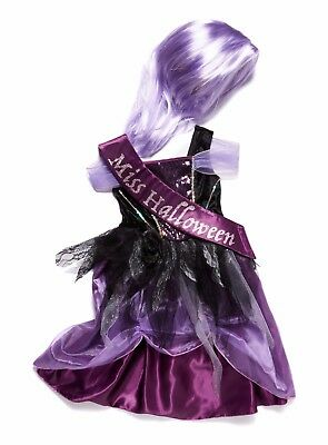 Halloween Zombie Princess With Sash And Wig Outfit Set Purple Size 7-8 Years • 15£