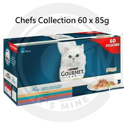 Gourmet Cat Food Perle Chef's Collection In Gravy Wet Pouches 60 X 85g By Purina • 26.95£