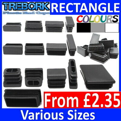 Rectangle Plastic End Caps Blanking Plugs Tube Box Section Inserts Furniture • 2.55£