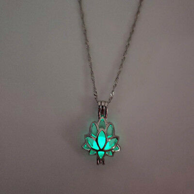 $ CDN1.65 • Buy Fashion Luminous Lotus Flower Design Glow In The Dark Pendant Female Necklace N3