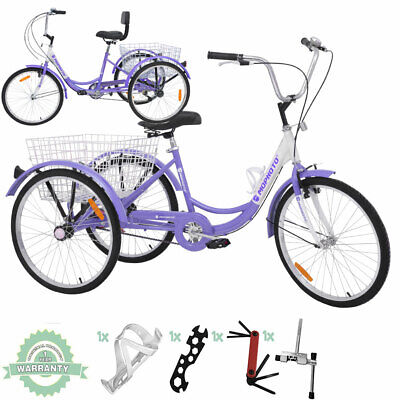 "View Details 24"" 7Speed Adult Tricycle Trike 3 Wheel Bike Cruiser W/Basket&Installation Tools • 298.90£"