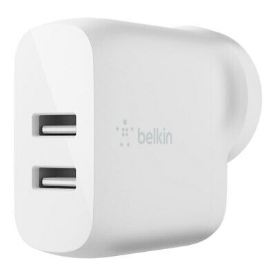 AU39 • Buy Belkin 24W Dual USB-A Wall Charger Plug Adapter For Apple IPhone/Samsung White