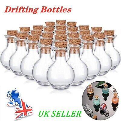 £4.99 • Buy 10-100pcs Mini Glass Bottles Clear Drifting Bottles Wishing With Cork Stoppers