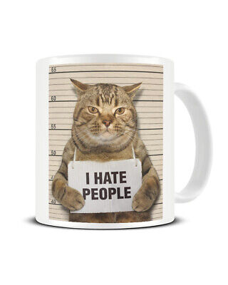 Antisocial Cat I Hate People Police Mugshot Funny Gift Mug Cup For Cat Lovers • 7.99£
