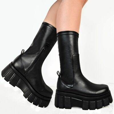 £19.99 • Buy Womens Platform Stretchy Boots Comfy Black Goth Pull On Calf Punk Ankle Shoes