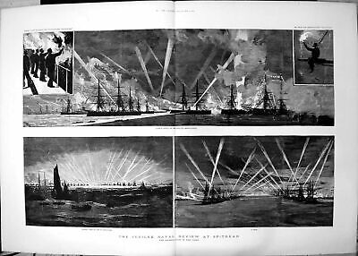 Old Jubilee Naval Review Spithead Illumination Fleet Search Lights 18 19th • 31£