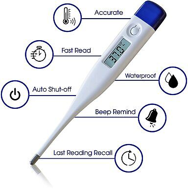 Digital LCD Thermometer Baby Adult Kids Safe Body Ear Mouth Temperature UK Stock • 2.99£