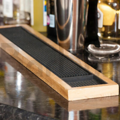 £19.95 • Buy BarBits Rubber Bar Mat With Wooden Frame 24 Inch - Glass Beer Drip Tray Runner