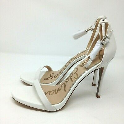 $ CDN63.07 • Buy Sam Edelman Ariella White Strappy Open Toe Leather Sandal Heels Size 10M