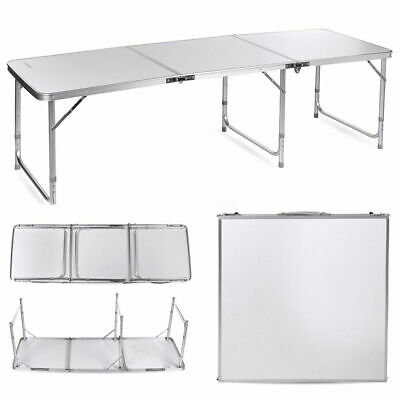 6FT Folding Camping Table Aluminium Picnic Portable Adjustable Garden Party BBQ • 30.99£