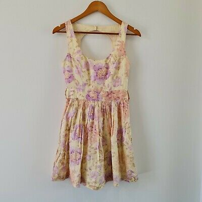 AU23.65 • Buy Forever New Women's A-Line Dress Size 8 Floral Printed Scoop Neck 100% Cotton