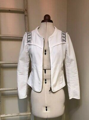 AU20 • Buy Zara Trafaluc White Embroidered Zip Up Jacket - Size S