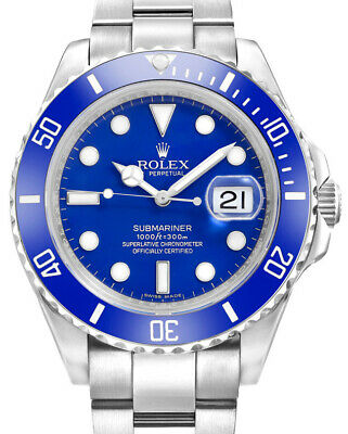 $ CDN52669.27 • Buy Rolex  Smurf  Submariner 18K White Gold Blue Ceramic Watch Box/Papers M 116619