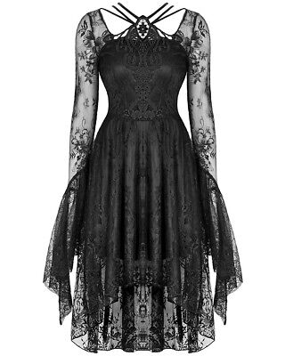 Dark In Love Gothic Lace High Low Dress Black Long Flared Sleeve Witch Vampire • 49.99£