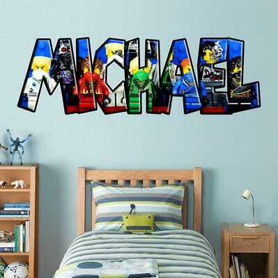 Lego Ninjago PERSONALISED NAME Decal WALL STICKER Decor Art Boys Bedroom WP02 • 11.99£