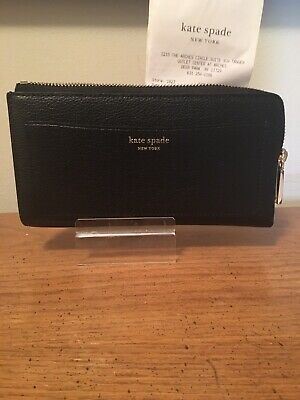 $ CDN64.59 • Buy Kate Spade New York Black Leather Eva Large Continental Wallet Clutch NWTs $189