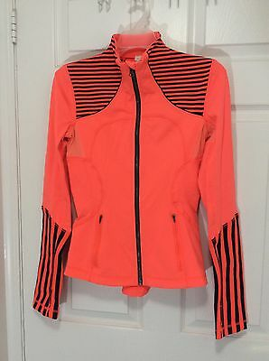 $ CDN49 • Buy Lululemon Forme Jacket Orange Flare Navy Inkwell Stripe Size 4 EUC