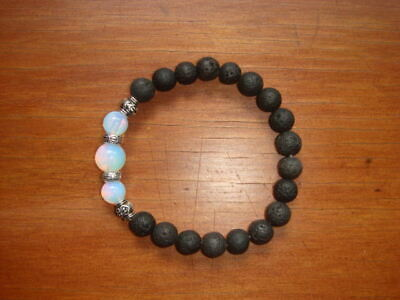 AU12.50 • Buy Lava Stone & Opalite Moonstone Diffuser Bracelet  Great To Use With DoTERRA Oils