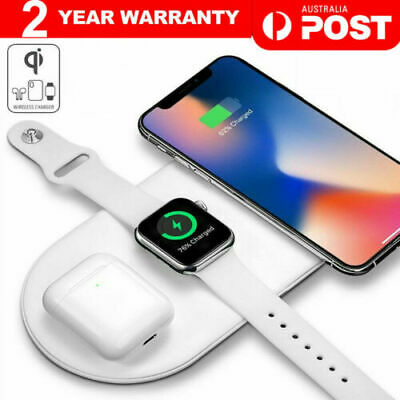 AU29.89 • Buy 3 In1 Qi Wireless Charger Charging Station Dock For Airpods IPhone Apple Watch