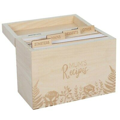 Wooden Mum's Recipes Card Box With Dividers And 50 Cards - Gift - Recipe Storage • 14.99£
