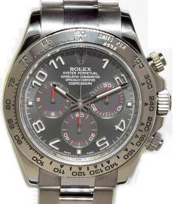 $ CDN34868.70 • Buy  Rolex Daytona Chronograph 18k White Gold Gray Dial Watch & Box D 116509